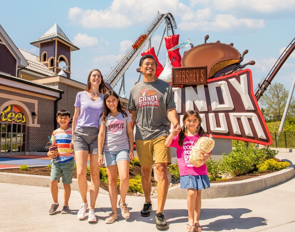 Family walking through Chocolatetown