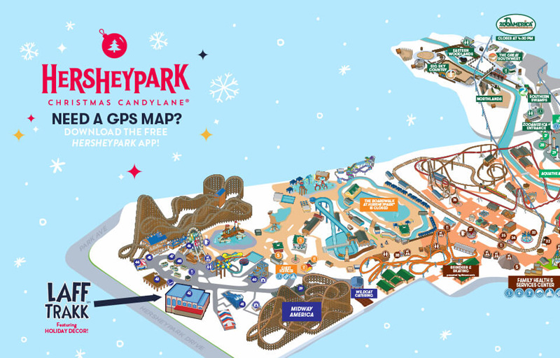 map of Hersheypark Christmas Candylane 2017