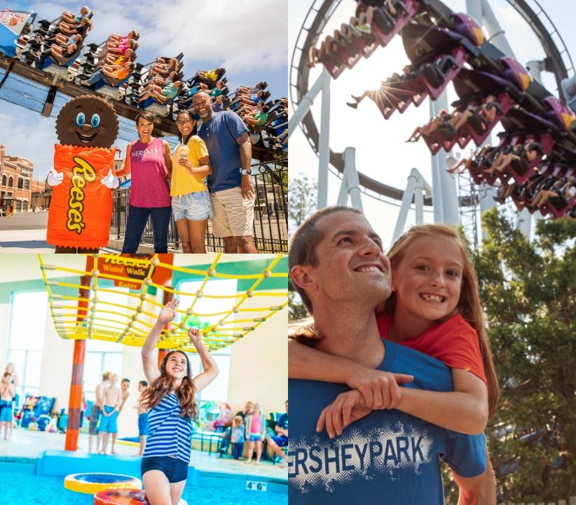 photo collage highlighting people having fun at hersheypark