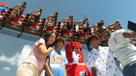 Kids with Hershey's Characters jumping
