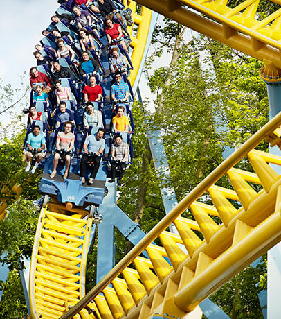 guests riding skyrush roller coaster