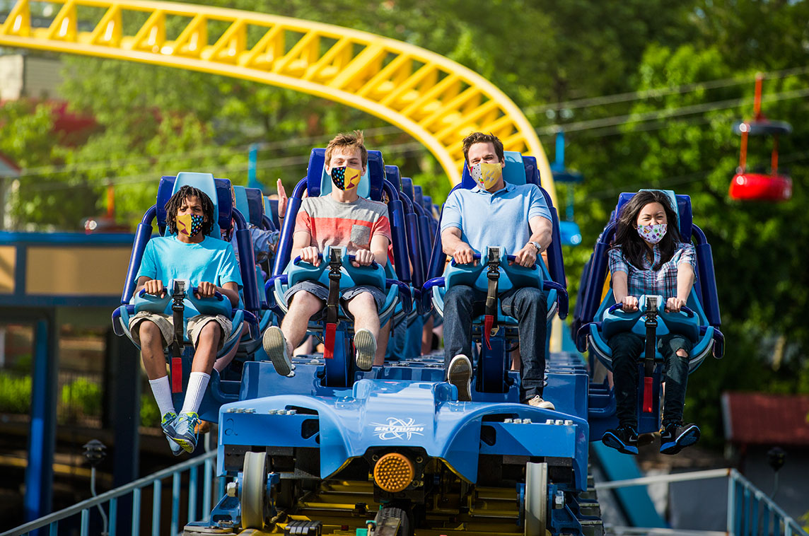 guests riding skyrush rollercoaster