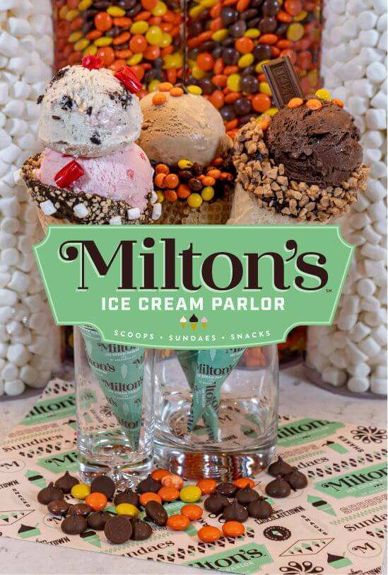 ice cream offerings at miltons