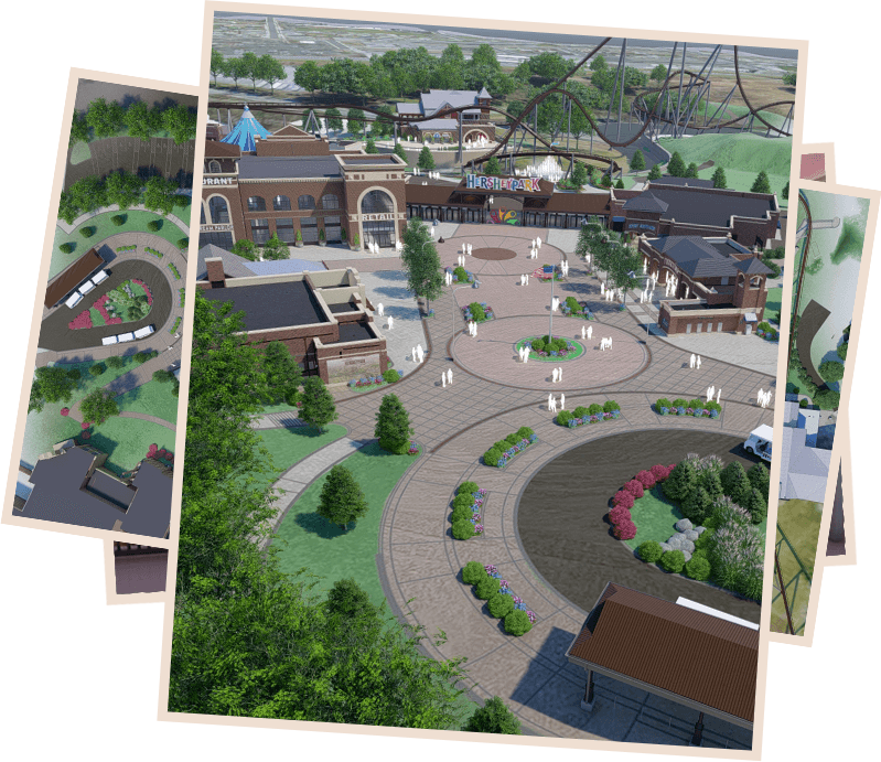 renderings of the new Hersheypark entrance